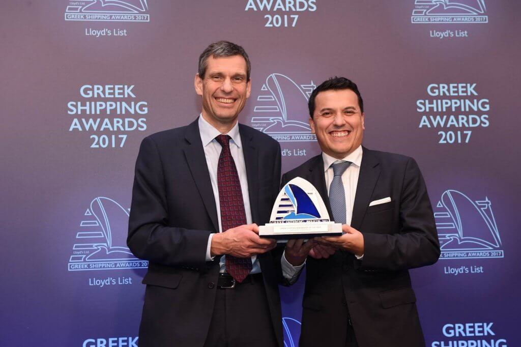 Carlos Pena accepts the Greek Shipping Newsmaker of the year award on Mr. Radziwill's behalf